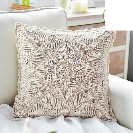 cojines del sofá de algodón ganchillo hecho a mano/Almohada ...