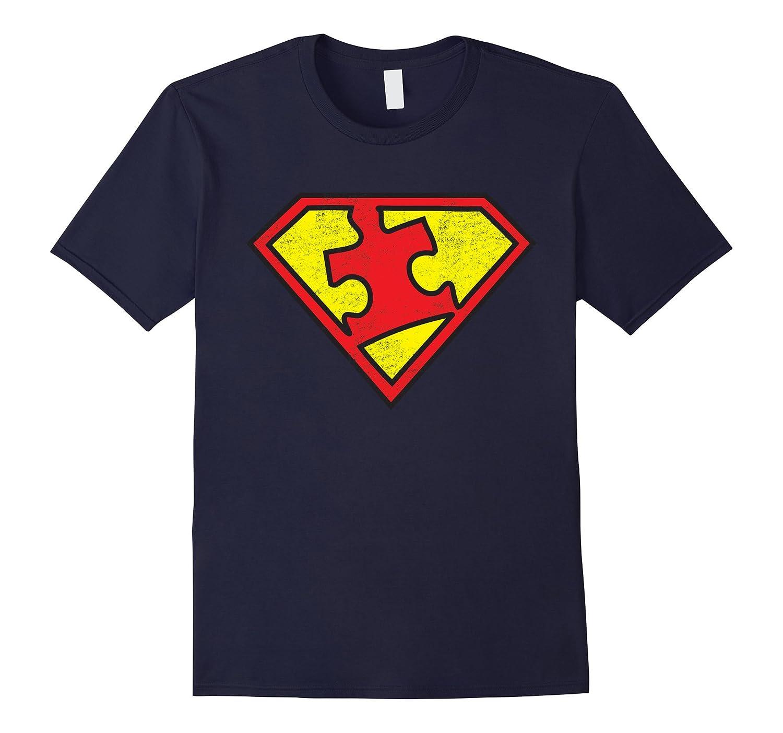 Autism Awareness Distressed Diamond Puzzle Piece Logo Shirt-CD