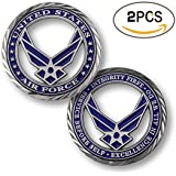 zcccom 2 pcs Set of Challenges Coins Deluxe Collector's Set   Core Values - U.S. Air Force Challenge Coin Each Coin Comes w/ a Plastic Round Display Case (U.S. Air Force)