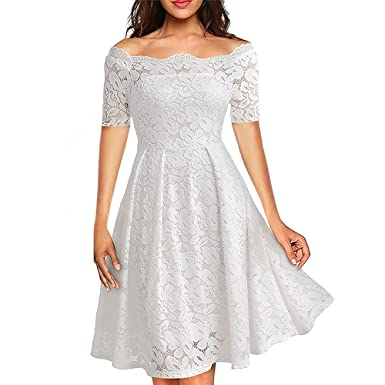 40e8c02b8712 Women's Vintage Floral Lace Evening Dress Short Sleeve Boat Neck Cocktail  Formal Swing Dresses for Women Wedding White XXL: Amazon.co.uk: Clothing
