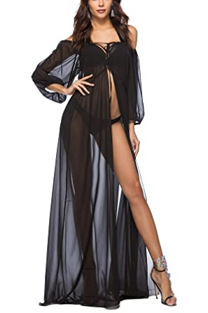 6cfb911a5e Women Chiffon Beach Bikini Cover Up Off Shoulder Maxi Mesh See-Through  Swimsuit Wrap Boho Beachwear