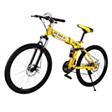 VEVOR Folding Bicycles 26 Inch Full Suspension Folding Mountain Bike 21 Speed Shimano Gears Mountain Bike With Disc Brakes