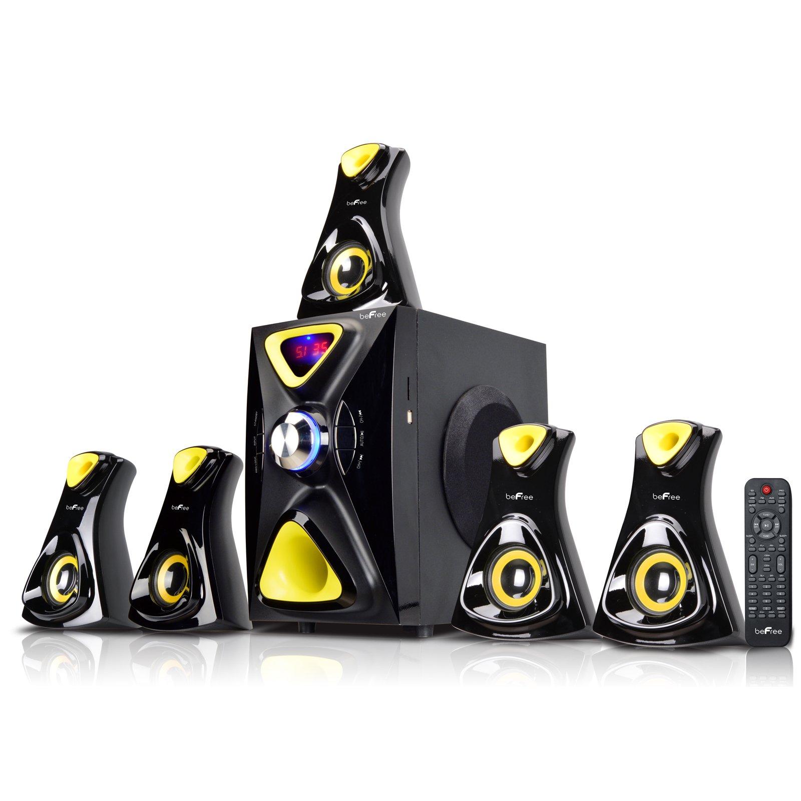 beFree Sound BFS-610 5.1 Channel Surround Sound Bluetooth Speaker System - Black/Yellow
