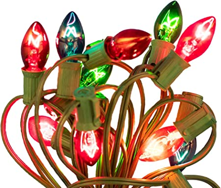 Box of 100 C7 Twinkle Multicolor Triple Dipped Transparent Christmas Bulbs