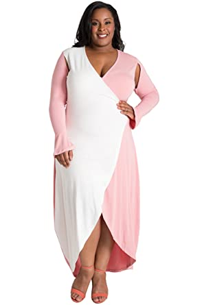2c13b9b89d8 Poetic Justice Plus Size Curvy Women s Pink White Flare Sleeve Jersey Maxi  Dress Size 1X