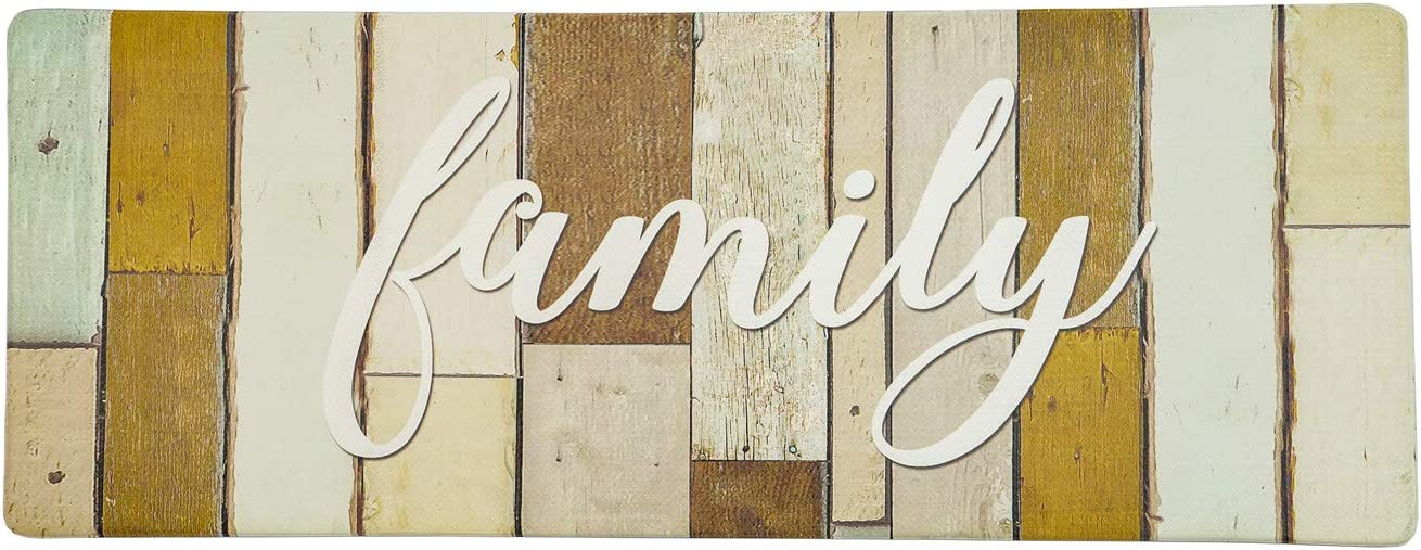 """Evergrace Printing Farmhouse Family Anti Fatigue Kitchen Floor Mat, 18 x 47"""" Durable Stain Resistant Cushioned Standing Comfort Mat with Non-Slip Bottom"""
