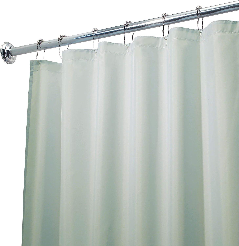 iDesign Duschvorhang aus Stoff Polyester azurblau waschbarer Textil Duschvorhang in der Gr/ö/ße 183,0 cm x 183,0 cm wasserdichter Duschvorhang mit verst/ärktem Saum