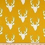 Art Gallery Hello Bear Jersey Knit Buck Forest Mustard Fabric By The Yard