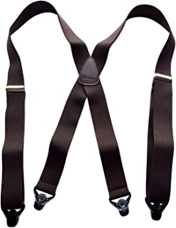 product image for HoldUp Classic Series Dark Brown X-back Suspenders with patented black Gripper Clasp