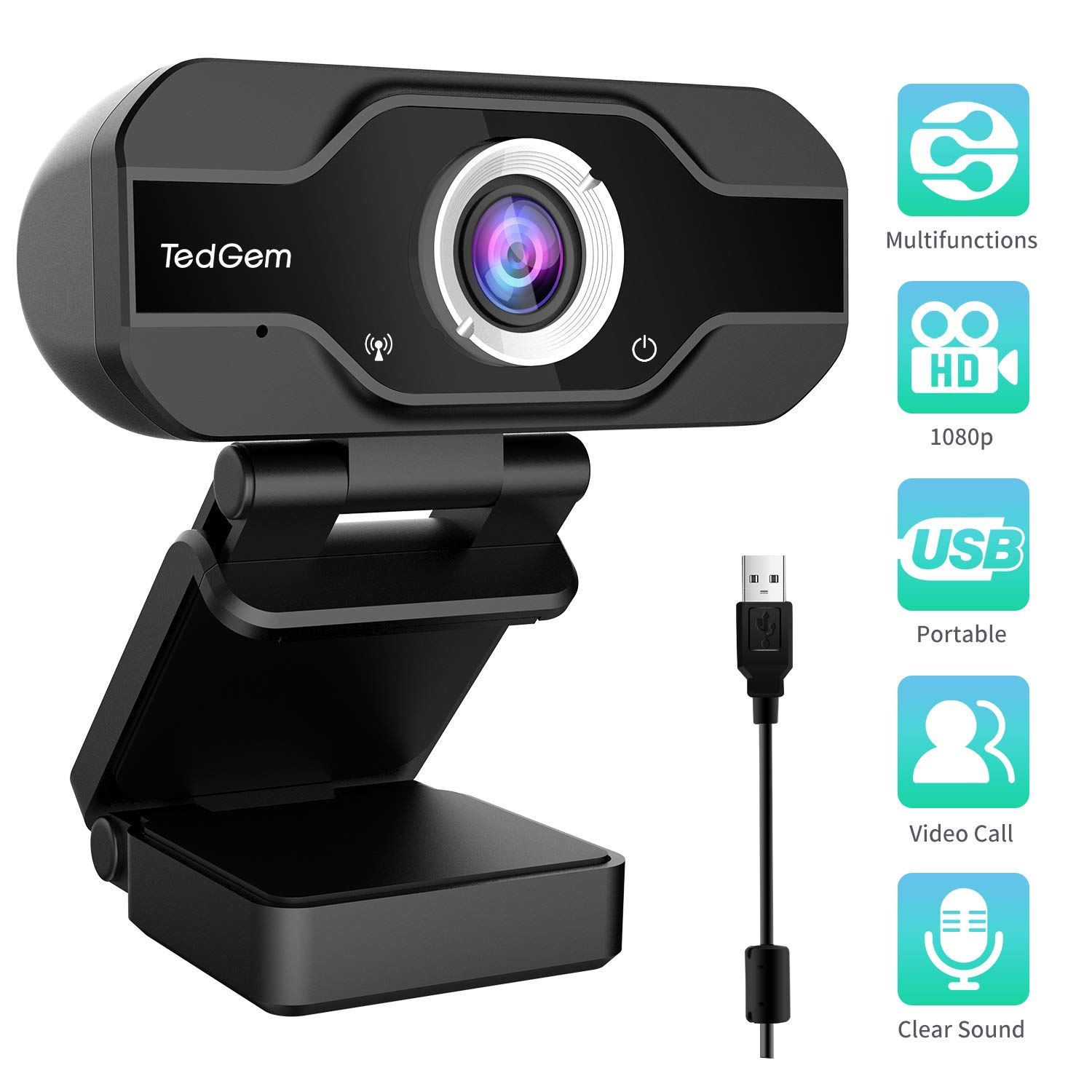 PC Webcam, TedGem 1080P Full HD Webcam USB Desktop & Laptop Webcam Live Streaming Webcam with Microphone Widescreen HD Video Webcam 90-Degree Extended View for Video Calling, Conferencing, Recording by TedGem