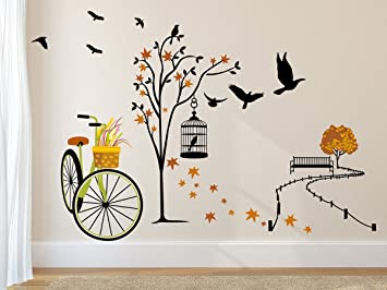 Buy Amazon Brand   Solimo Wall Sticker For Living Room(Ride Through Nature,  Ideal Size On Wall: 140 Cm X 100 Cm) Online At Low Prices In India    Amazon.in