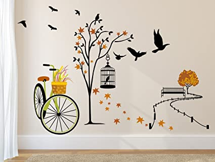 High Quality Amazon Brand   Solimo Wall Sticker For Living Room(Ride Through Nature,  Ideal Size
