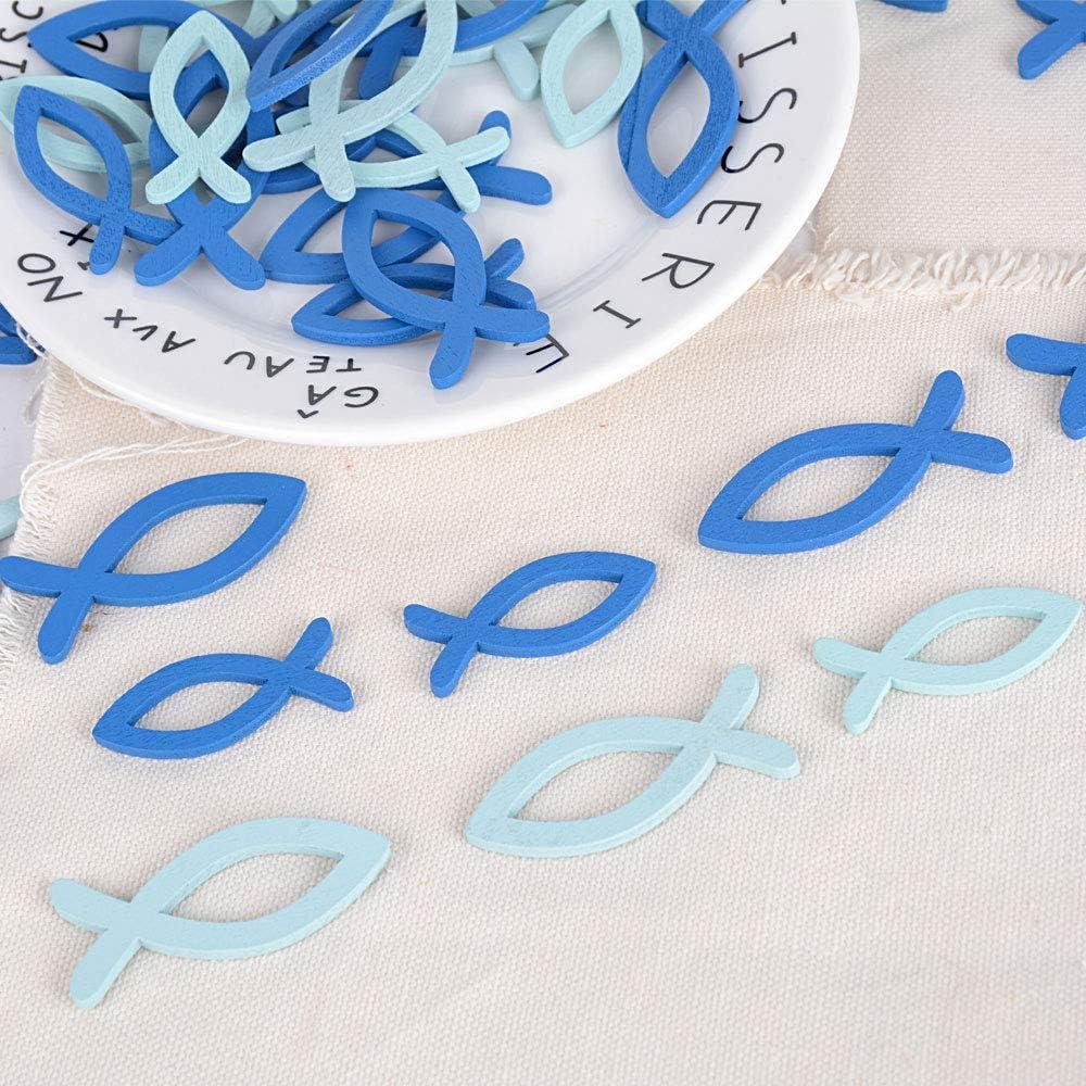 Azul Ligero + Azul Oscuro JNCH 100 Piezas Peces de Madera Adornos de Madera Adornos Colgantes de Madera para Scrapbooking Manualidad DIY Decoraci/ón Boda Fiestas Navidad Pared Hogar Escaparate