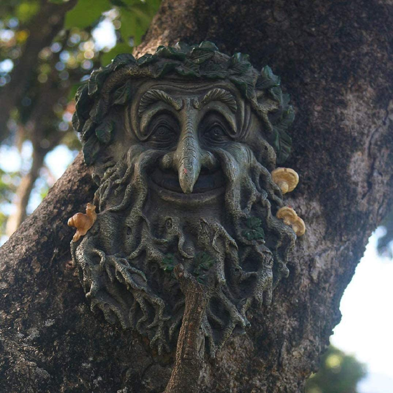Tree Face Garden Decorations, Fun Old Man Tree Huggers Tree Sculptures Outdoor Yard Art Garden Statues