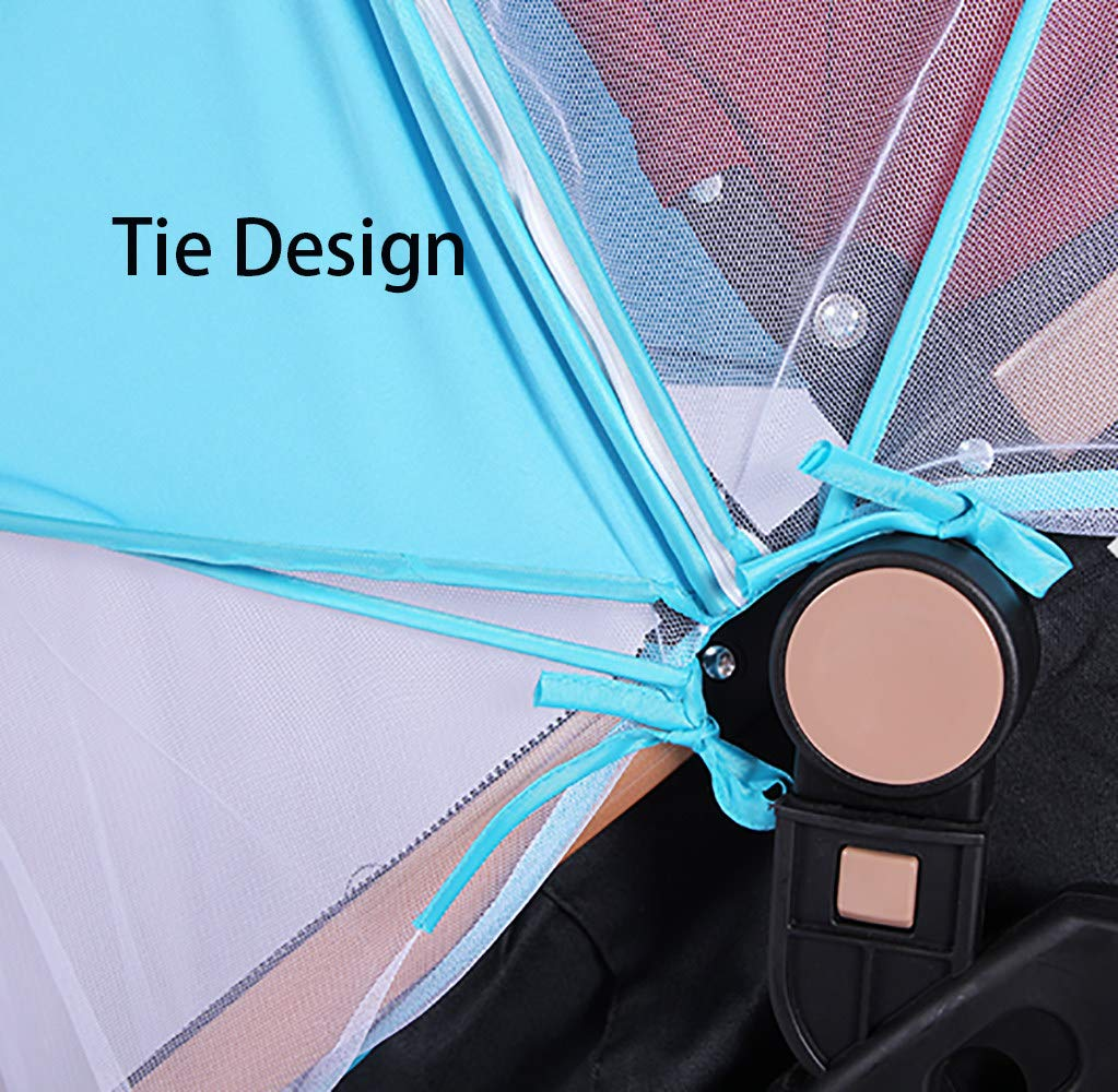 2-in-1 Baby Stroller Mosquito Net&Sun Shade Canopy,Baby Stroller Sun Shade Canopy,Universal Baby Sunshade,Sleep Aid for Pushchairs,Black by ACOMG (Image #4)