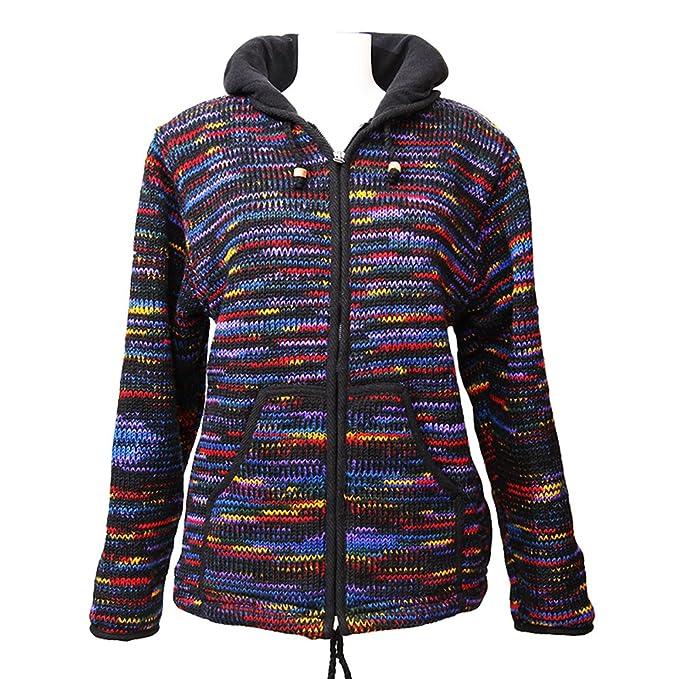 Chaqueta con capucha negro arcoíris de la marca The Hippy Clothing Co.: Amazon.es: Ropa y accesorios