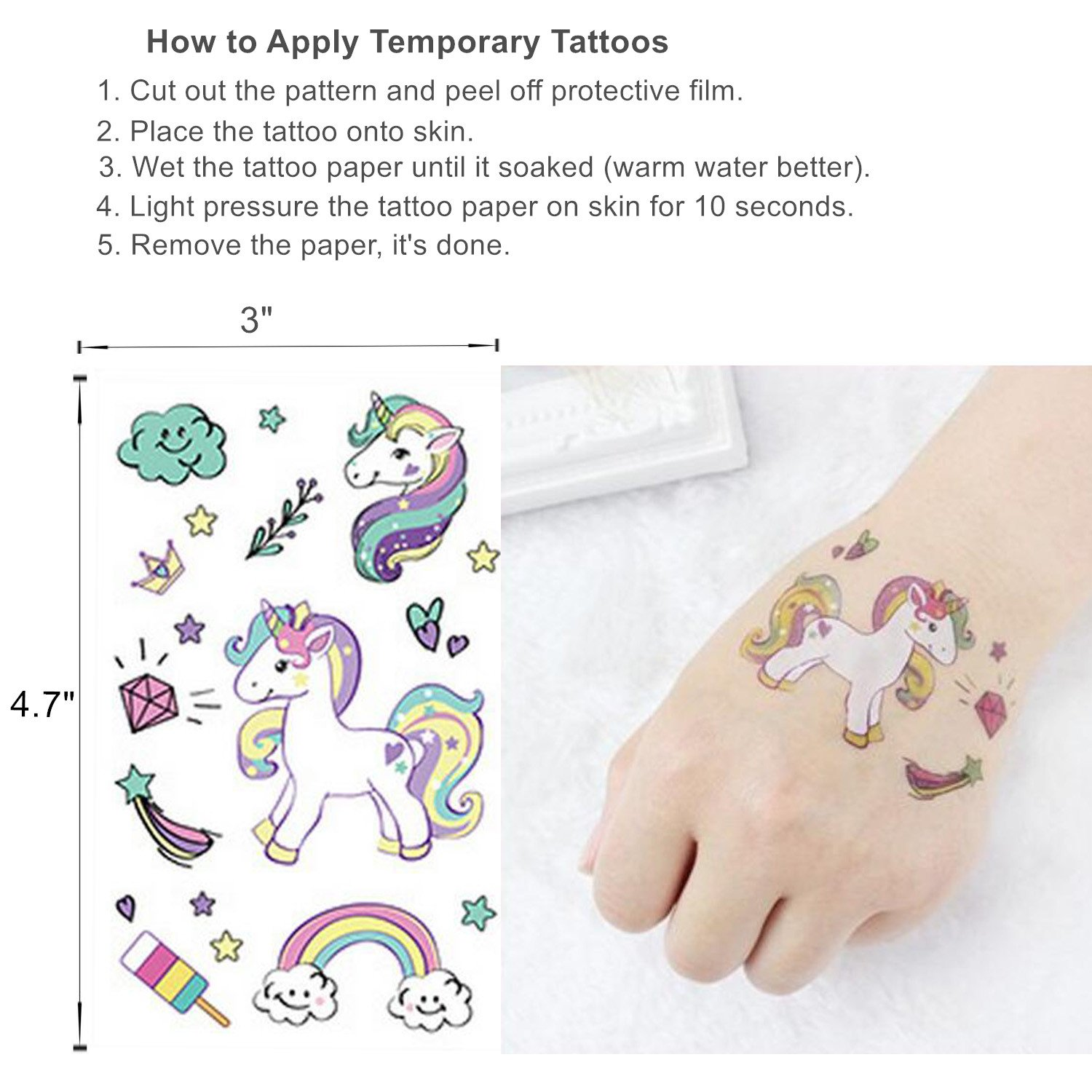 cab9f3083 Amazon.com: Oexper 12 Sheets of Unicorn Temporary Tattoos Cartoon Rainbow Ice  Cream Tattoo Stickers for Girls Boys Kids Adults – Great for Birthday Party  ...