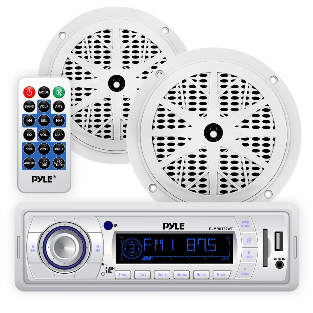 Marine Headunit Receiver Speaker Kit - In-Dash LCD Digital Stereo w/AM FM Radio System 5.25'' Waterproof Cone Speakers (2) MP3/USB/SD Readers Single DIN & Remote Control - Pyle White PLMRKT32WT by Pyle