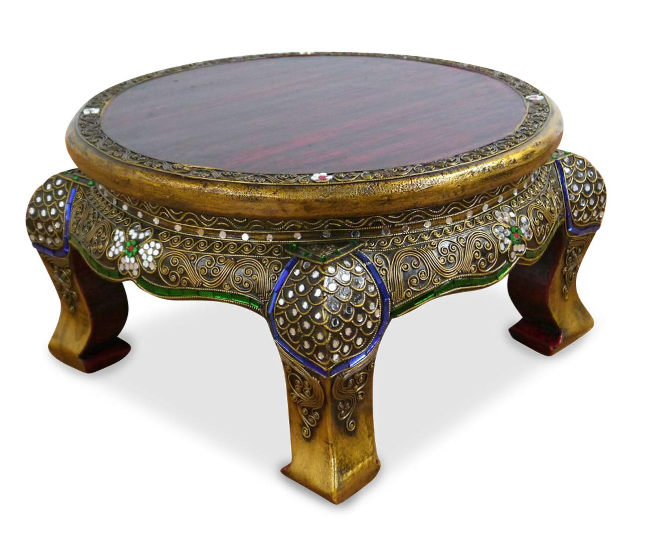 Asian Opium Table, Glass Mosaic Look, Round, Different Sizes, Handmade Thai Furniture (Small) Asia Wohnstudio
