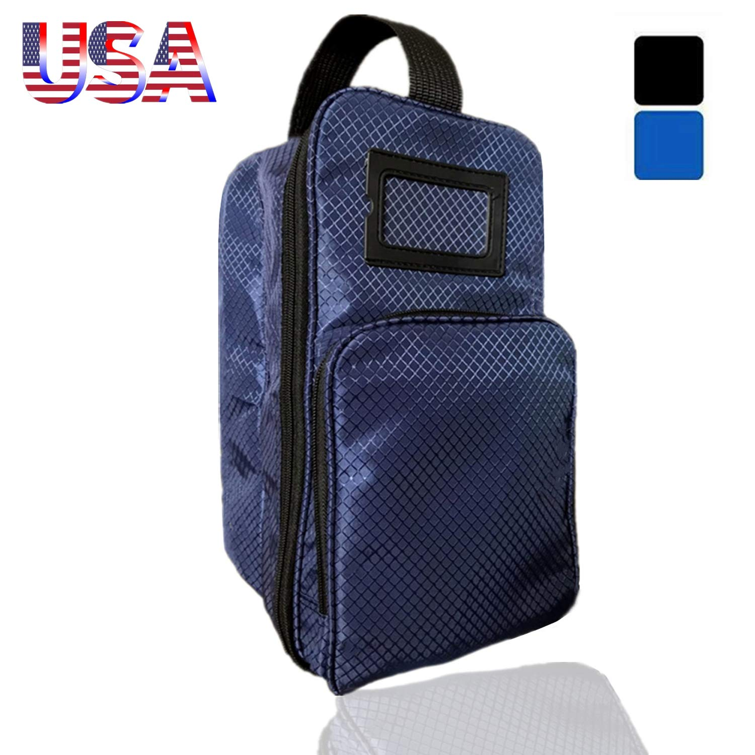 Amy Sport Golf Shoe Bag Zippered Sports Travel Shoes Case with Outside Pocket Pack, Convenient Lightweight Carrier for Men Women Basketball Soccer Gym Gift (Navy) by Amy Sport