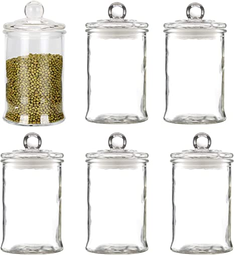 Glass canisters/Jar Cotton Ball Holder Set of 8 Maredash Glass Apothecary Jars,Bathroom Storage Organizer with lids
