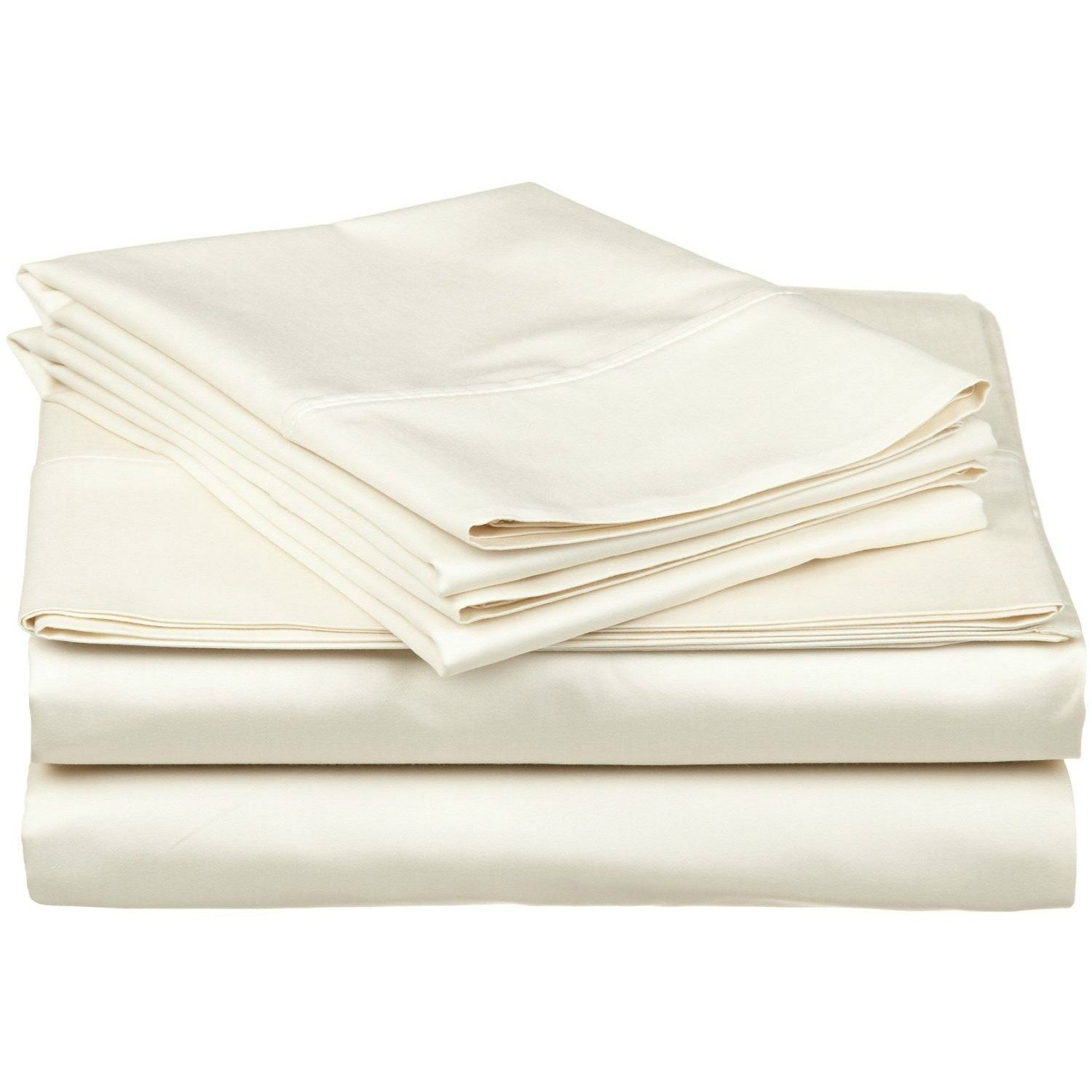 4 Piece Full Ivory Bed Sheet Set, Ultra cozy, super soft, lightweight, durable, satiny smooth, Fully Elasticized, Sateen weave with 300 thread count, Off White, Cotton