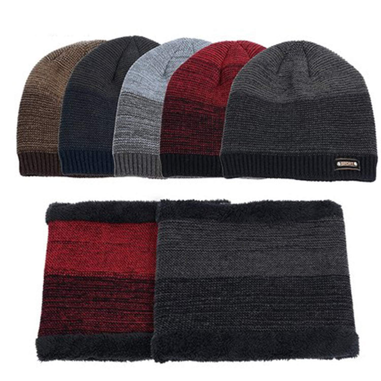 Mens Knit Beanies Hat Scarf 2 Pieces Set Winter Plus Velvet Thicken Soft Cap Scarves Sports Skullies Male