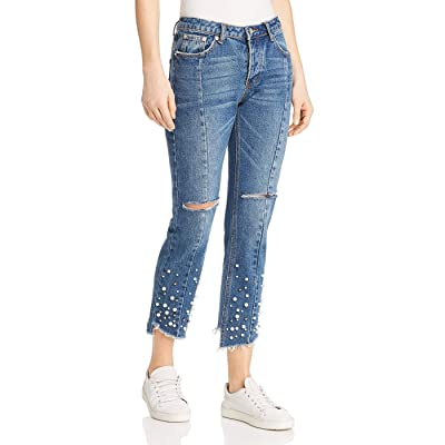 Sunset & Spring Women's Embellished Distressed Straight-Leg Jeans, Denim (Blue), Small at Women's Jeans store