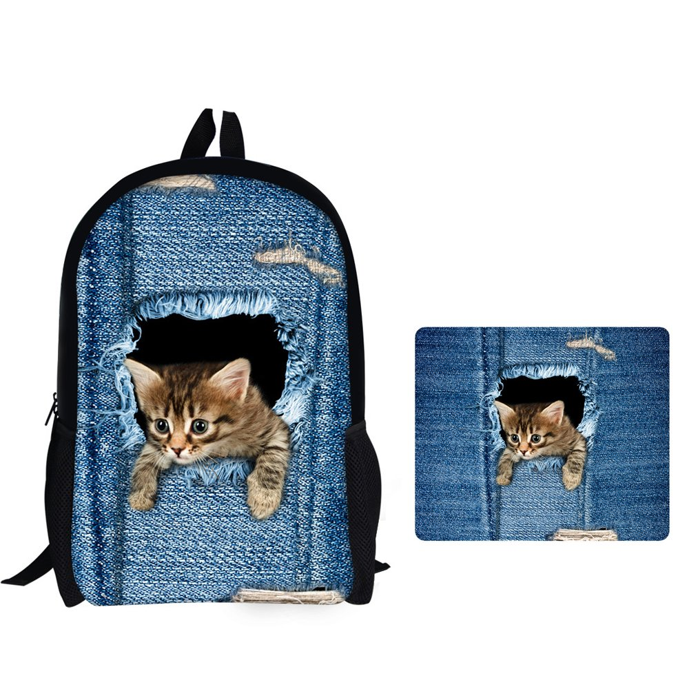 Cat backpack +mouse pad Kids Cute Cat Print  Lunch Bag, Pencil Case, Suitcase Cover, 17  Backpack,ipad bags, Drawstring Backpack Set