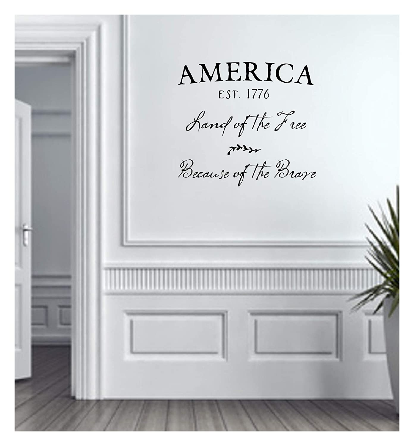 Amazon Com America Established 1776 Land Of The Free Because Of The Brave Vinyl Wall Decal Handmade