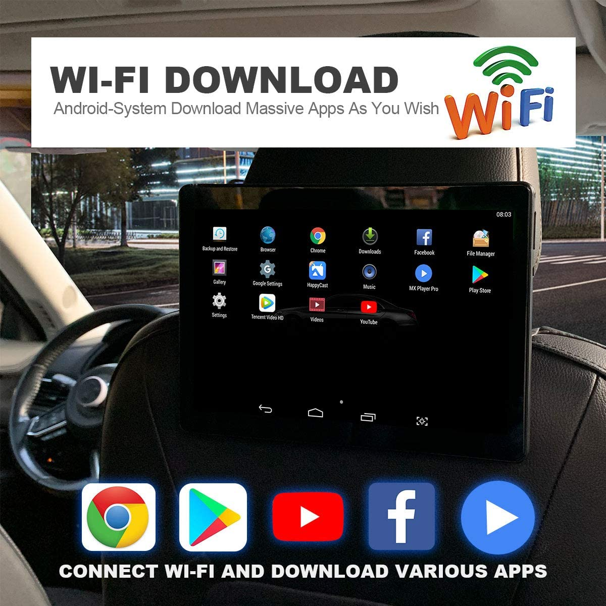 LISIMKE 10.1 inch One Android Headrest Video Players with WiFi IPS Touch Screen Play Movies Sync Screen Tablets Phone Mirror Car Back Seat TV Monitors