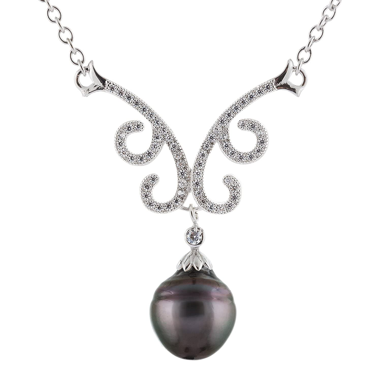 9-10mm Black Tahitian Cultured Pearl 925 Sterling Silver Rhodium-Plated Collar Fancy Twirl Necklace CZ Accents Handpicked AAA