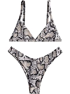 26e5d79216 ZAFUL Womens Snakeskin Print Straps High Cut Wire Free Bikini Set Two Piece  Swimsuits