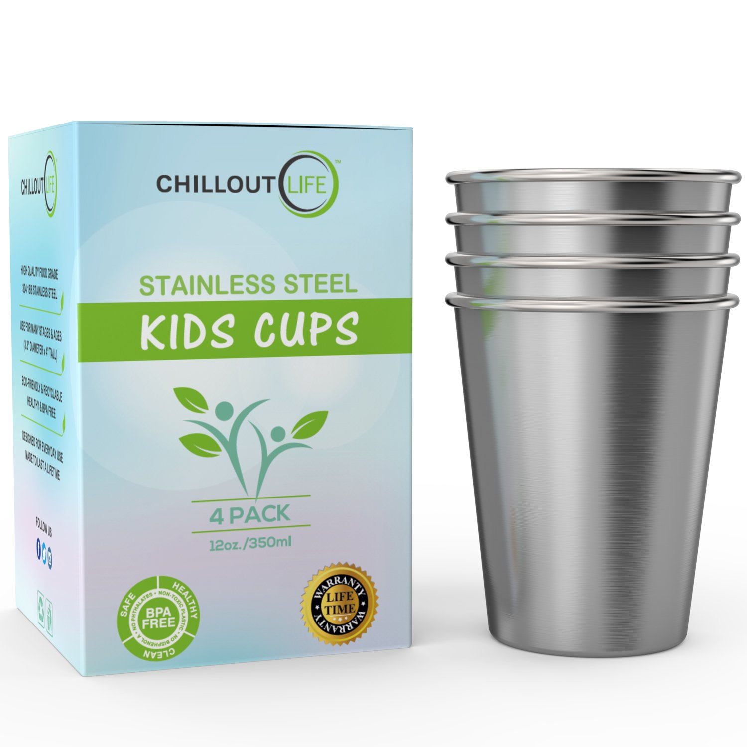 Stainless Steel Cups for Kids and Adult 12 oz – Metal Kids Cups stackable for Home & Outdoor Activities, BPA Free Healthy Unbreakable Premium Metal Drinking Pint Glasses (4-Pack) by CHILLOUT LIFE