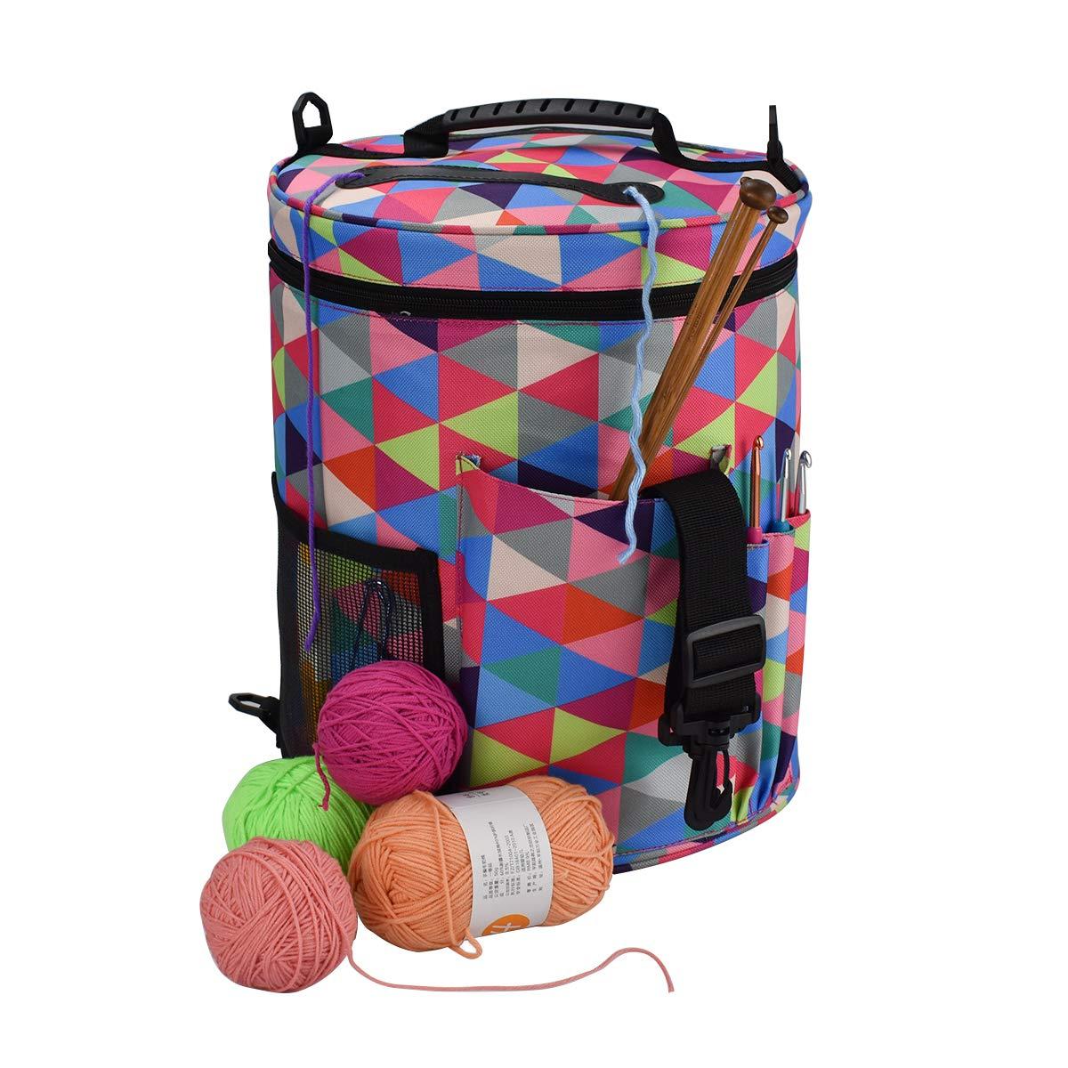 Yarn Bag Large Knitting Tote Bag Yarn Storage Tote for Yarn Large Tote Bag for Storage Yarn Supplies Organizer Tote for Weave Tools Crochet Accessories Needles/Hooks 【Cowhide】