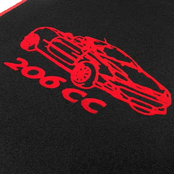 Online Fussmatten Of01 04 Passgenaue Velours Fußmatten Mit Automotiv 206cc Und Rand In Rot Auto