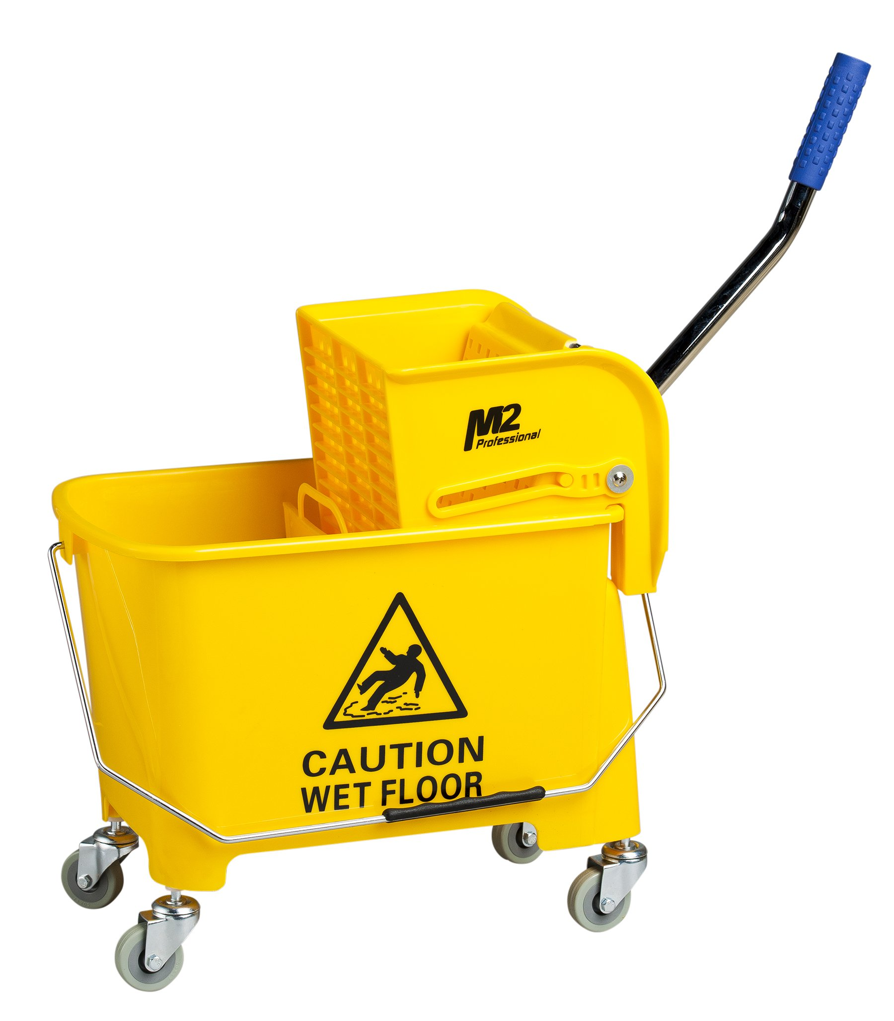 M2 Professional Junior Commercial Mop Bucket with Side Press Wringer and Wheels, 23 Quart/6 Gallon Capacity - Yellow