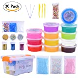 Slime Kit for DIY Slime - M MOOHAM Ultimate Clear Slime Newest Slime Supplies for Kids, DIY Slime Kit Including Colorful Slime Beads Fishbowl Beads,Totaling 30 Packs Slime Accessories