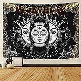 LOMOHOO Tapiz Tarot Sol y Luna Tapiz Psicodélico Colgante de Pared Celeste Tapices de Pared Indio Mandala Bohemio (A-Sun…