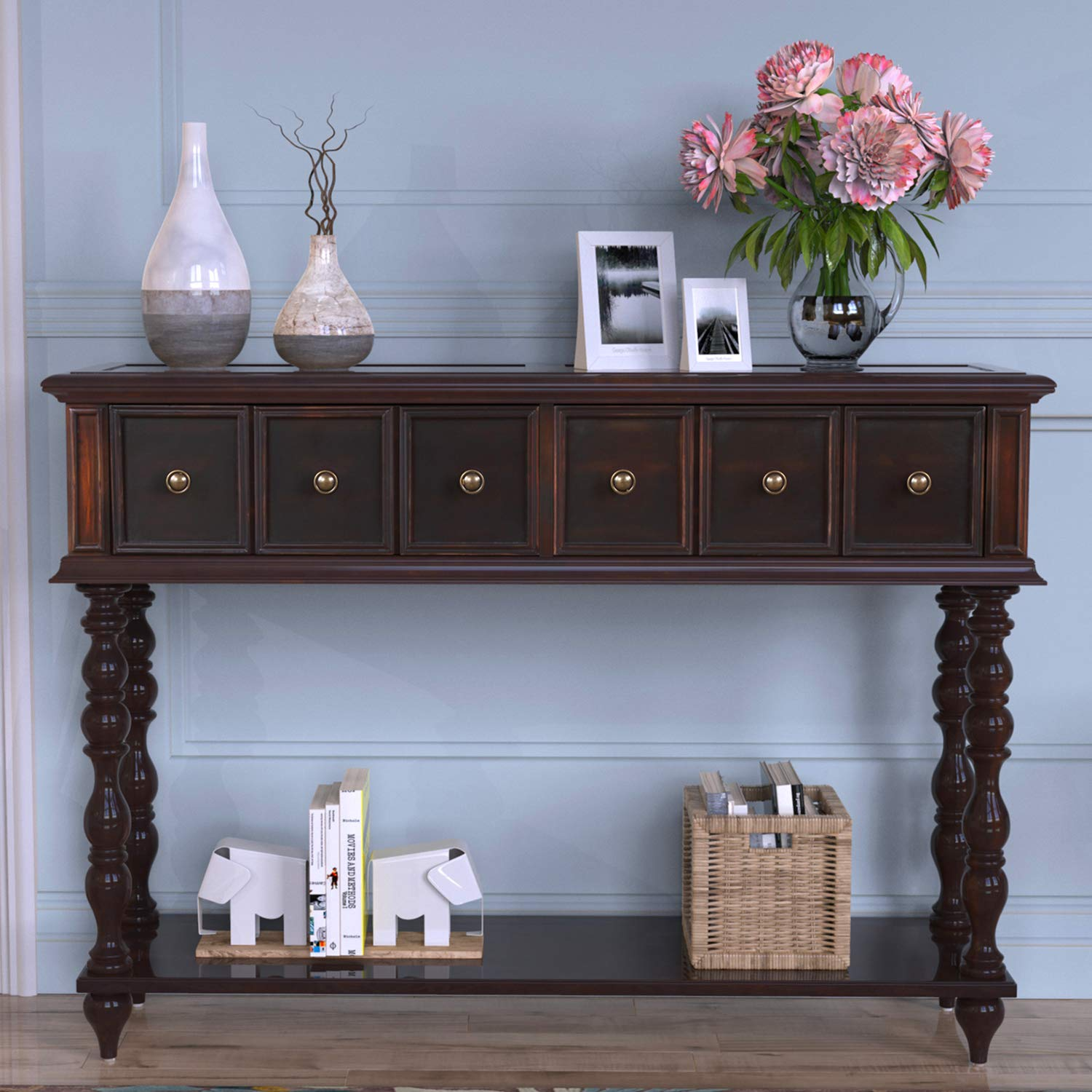 Norcia Console Table with Drawers, Antique-Inspired Hallway Entryway Table, Elegant Solid Wooden Sofa Tables Dark Brown