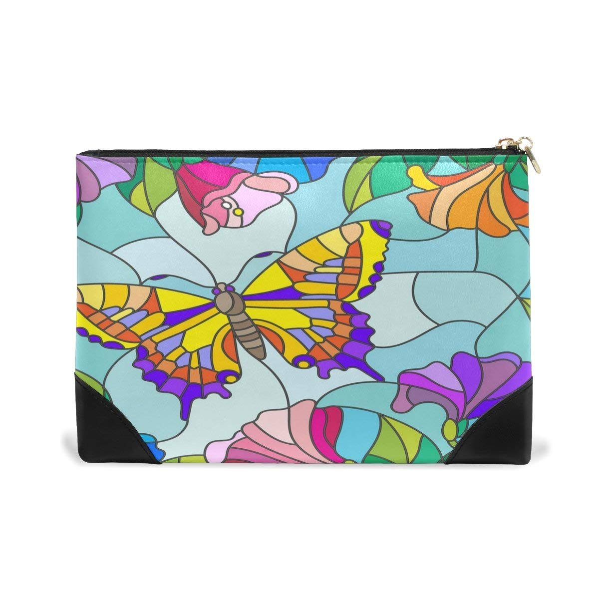 BLEFE Stained Glass Butterfly Makeup Cosmetic Bag Pouch Travel Bag for Women Girls