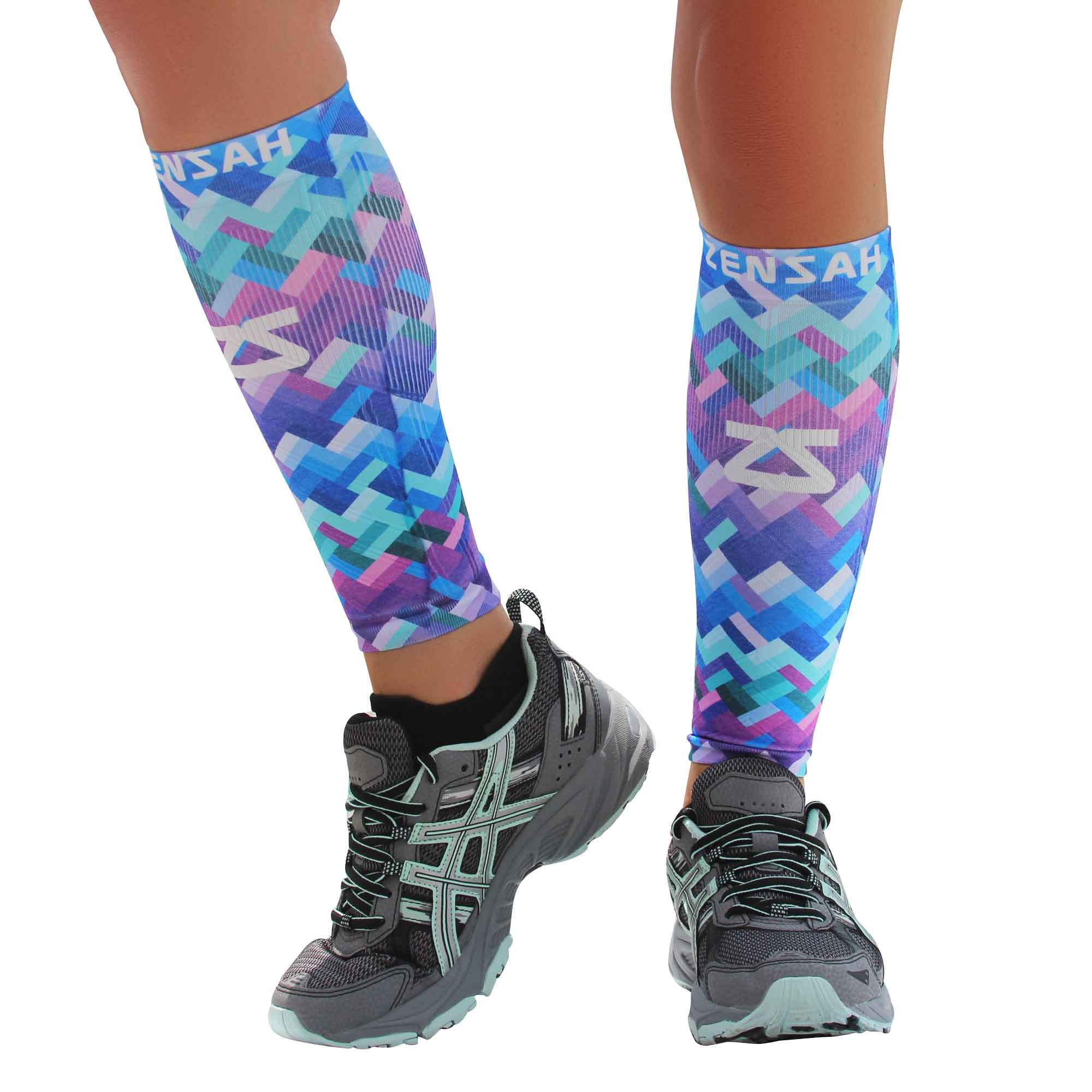 Zensah Design Limited Edition Leg Sleeves, Geo Waves, X-Small/Small