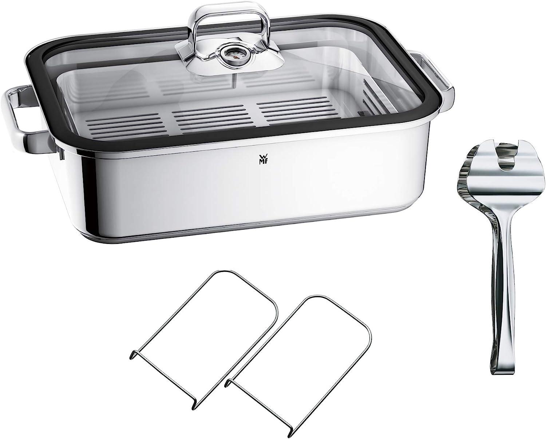 WMF Vitalis Aroma - Olla para cocinar al vapor, 41 x 27 x 10 cm, molde de 6,5 l, pinzas para servir, tapa de cristal, borde de silicona, termómetro, bandeja de garba, inducción, acero inoxidable