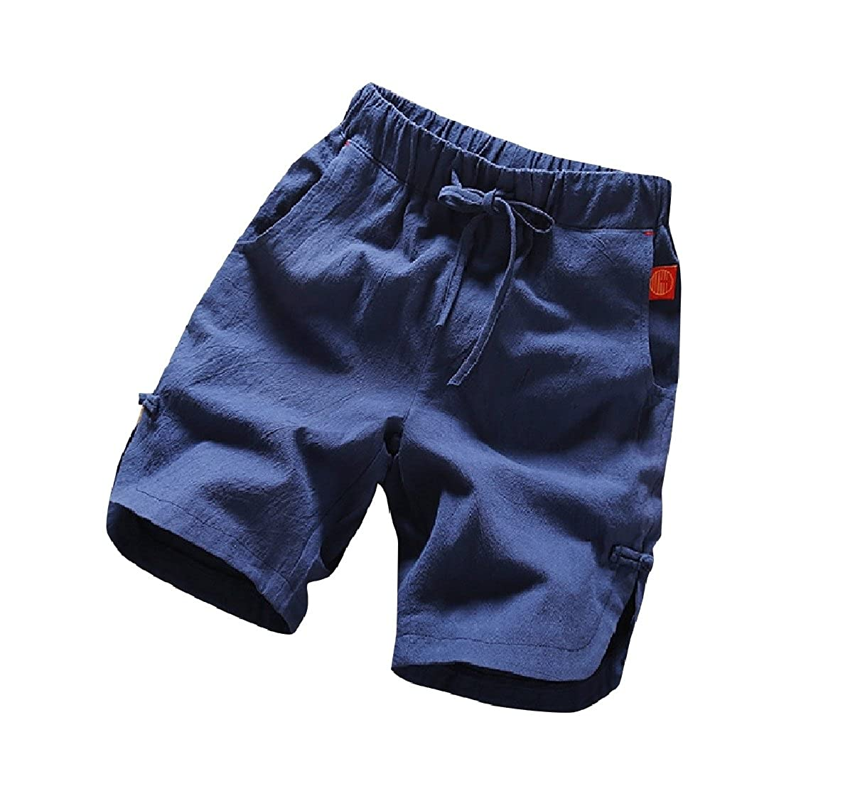 Coolred-Men Straight Chinese Style Cotton Linen Blend Bermuda Shorts