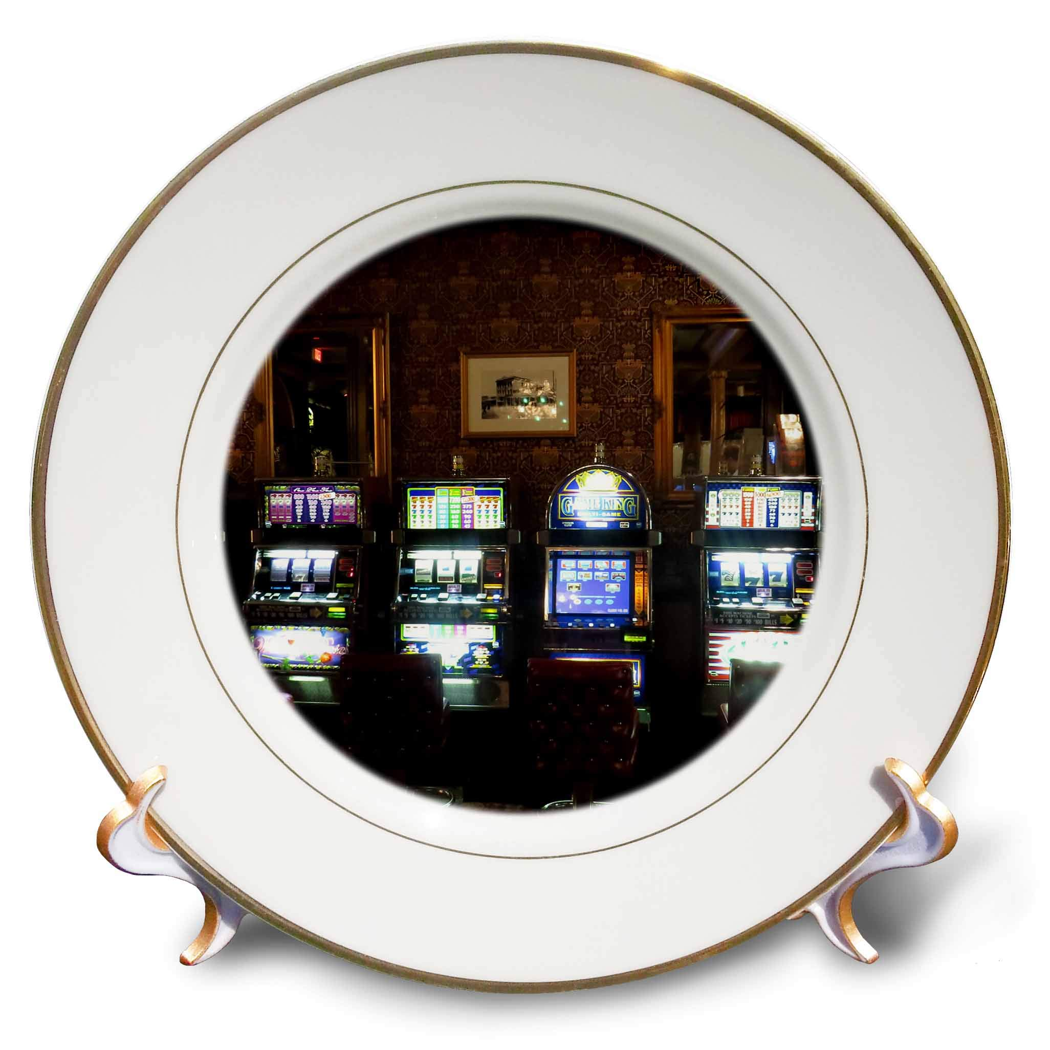 3dRose Jos Fauxtographee- Mizpah Casino - A Casino Inside The First Floor at The Mizpah Hotel with Slot Machines - 8 inch Porcelain Plate (cp_291366_1)