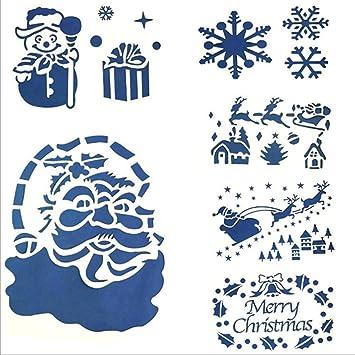 Shina 6pc Weihnachten Glasfenster Schnee Spray Vorlage Schablone