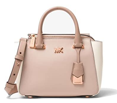 cf868c64858c58 MICHAEL Michael Kors Nolita Mini Color-Block Leather Bag, Soft Pink Fawn  Light Cream: Handbags: Amazon.com