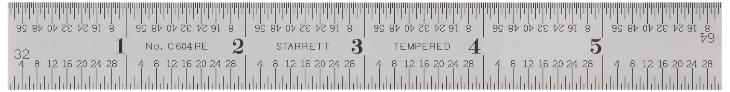 Starrett C604RE-6 Spring Tempered Steel Rule With Inch Graduations, 6'' Length, 3/4'' Width, 3/64'' Thickness