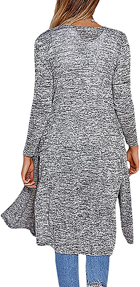 BLady Womens Extra Long Split Sides Speckled Knit Full Sleeve Open Cardigan