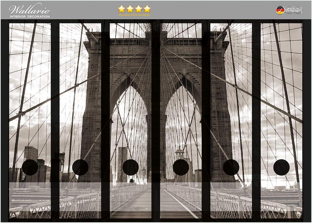 passend f/ür 8 schmale Ordnerr/ücken Gr/ö/ße 8 x 3,5 x 30 cm Wallario Ordnerr/ücken Sticker Brooklyn Bridge in New York in Premiumqualit/ät